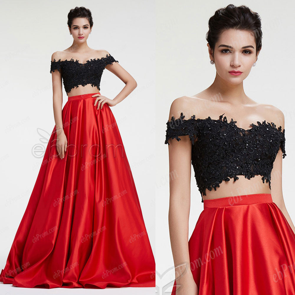 Off the shoulder black red ball gown 2 piece prom dress homecoming ...