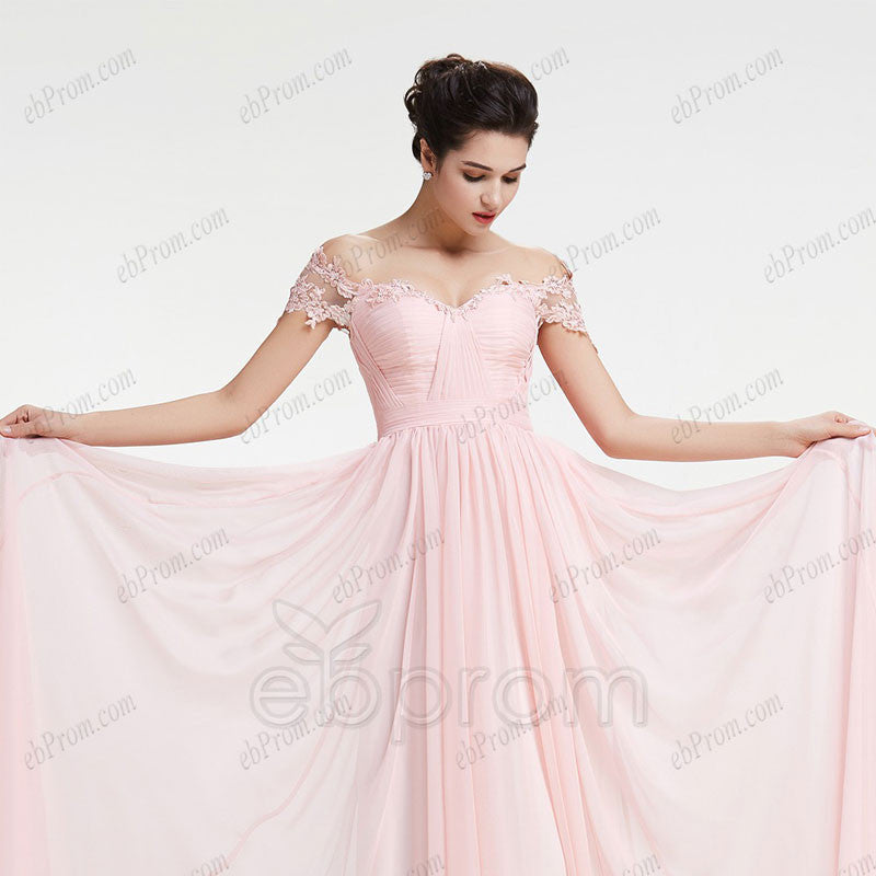 Blush off the shoulder prom dresses