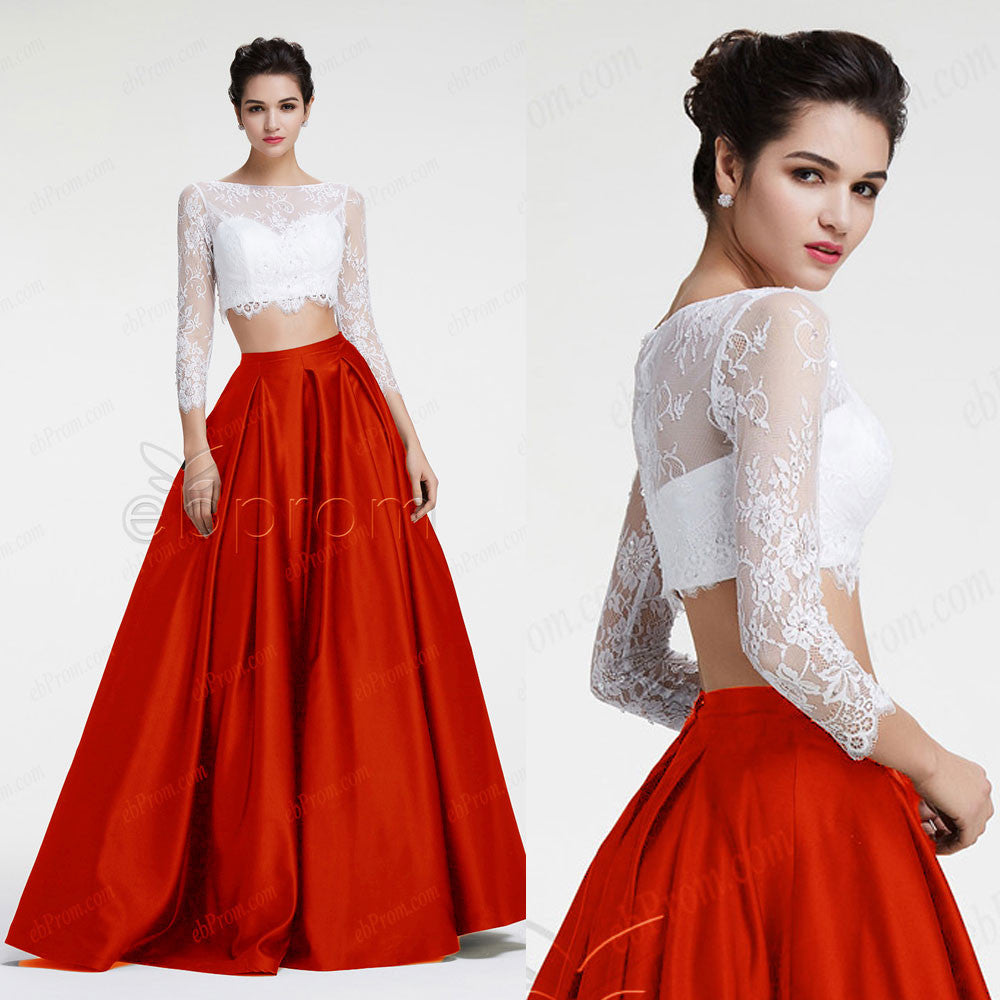 Ball Gown Two Piece Prom Dresses White Red Pageant Dresses Long