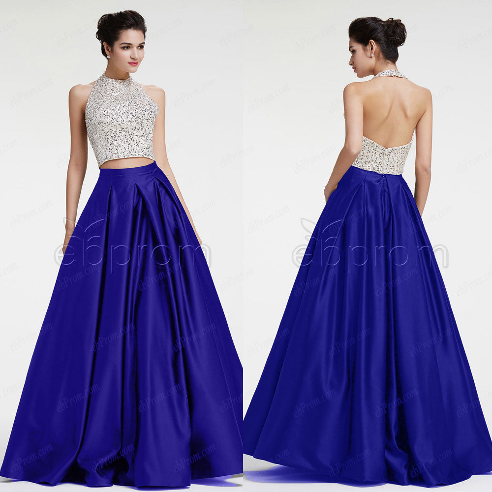 Beaded Crystals Halter Ball Gown Two Piece Prom Dresses Pageant ...