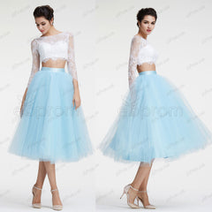 Long sleeves two piece homecoming dresses prom dress