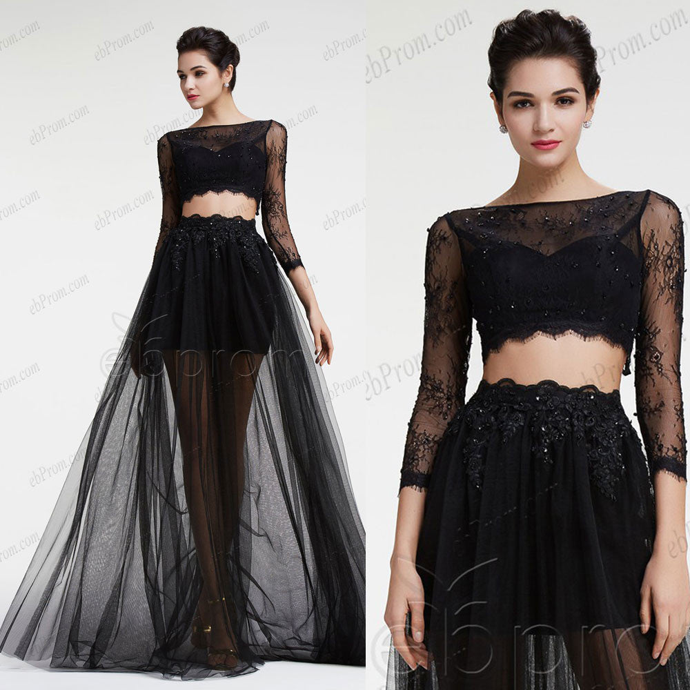 Black see through two piece prom dress long sleeves – ebProm