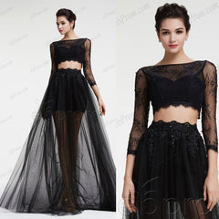 Black see through two piece prom dress long sleeves