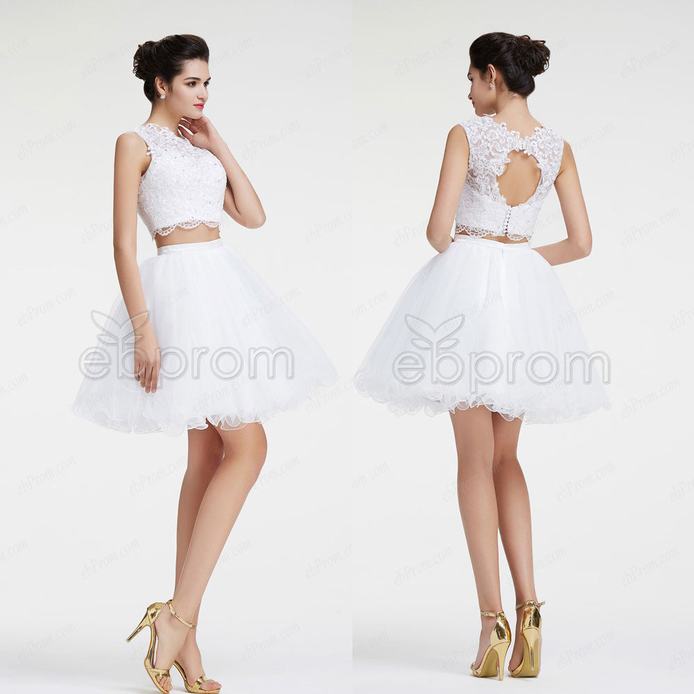 White backless two piece short prom dresses – ebProm