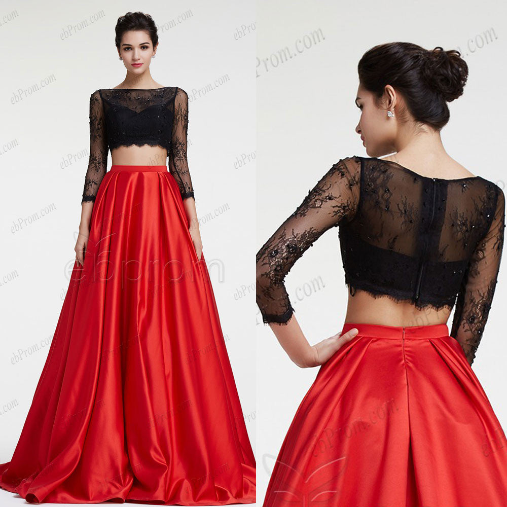 1cda4ef2835 Black lace red ball gown two piece prom dress long sleeves – ebProm
