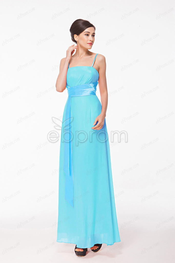 Spaghetti Straps Aqua blue bridesmaid dresses