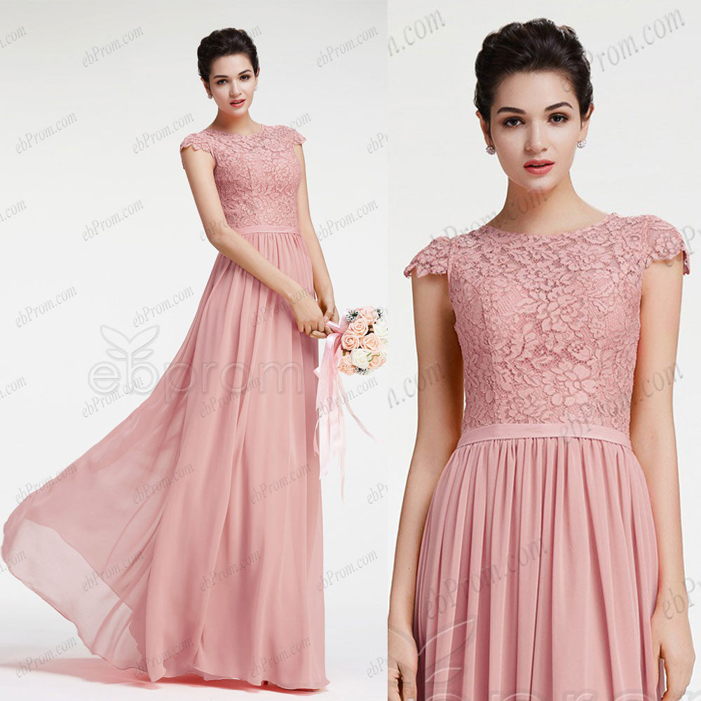 Dusty pink bridesmaid dresses with cap sleeves – ebProm