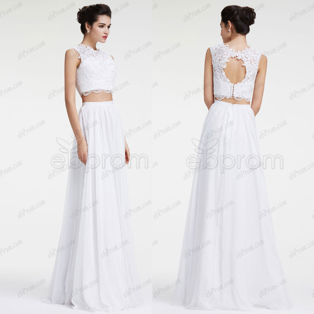Two piece lace chiffon boho beach wedding dress – ebProm