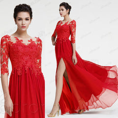 Lace red long sleeve prom dress with slit