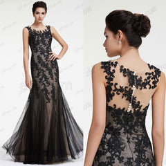 Mermaid Black lace evening dresses long prom dress