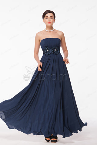 Navy blue strapless bridesmaid dresses