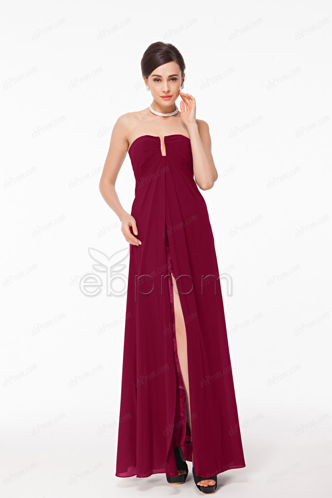Long Burgundy prom dresses with slit