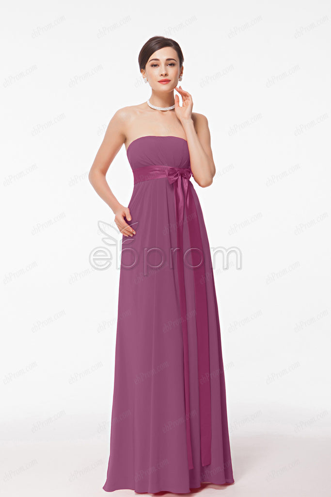 Strapless plum maternity bridesmaid dresses empire waist