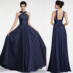 Navy blue halter long prom dresses