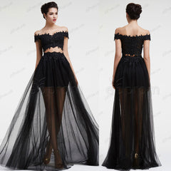 Beaded black two piece prom dresses off the shoulder pageant dress