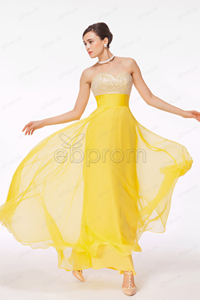 Sparkly sequins yellow prom dresses pageant dress – ebProm