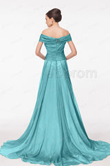 Off the shoulder Dusty green evening dresses