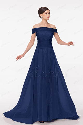 Off the shoulder navy blue mother of the bride dresses