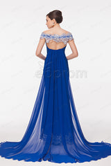 Off the shoulder royal blue mermaid prom dress with embroidery