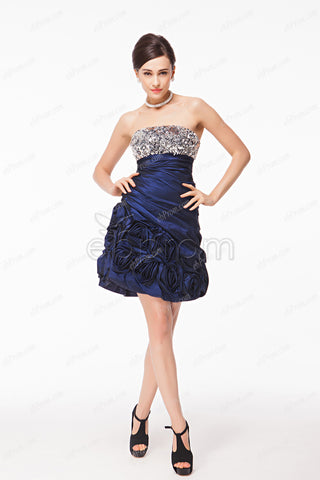 Navy blue homecoming dresses short prom dresses