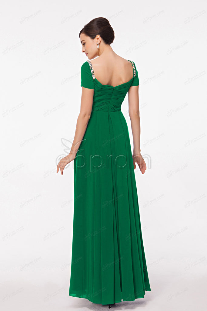 Modest Emerald green mother of the bride dress with sleeves – ebProm