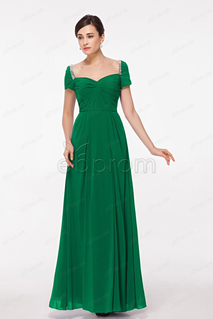 Modest Emerald Green Mother Of The Bride Dress With Sleeves Ebprom