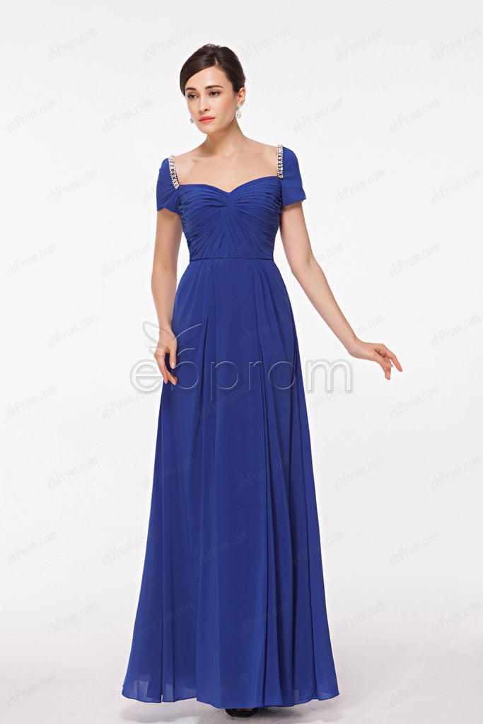 Royal blue evening dress with sleeves
