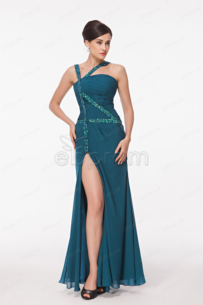 Teal beaded evening dress with slit