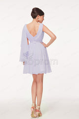 V Neck Greyish purple Cocktail dresses