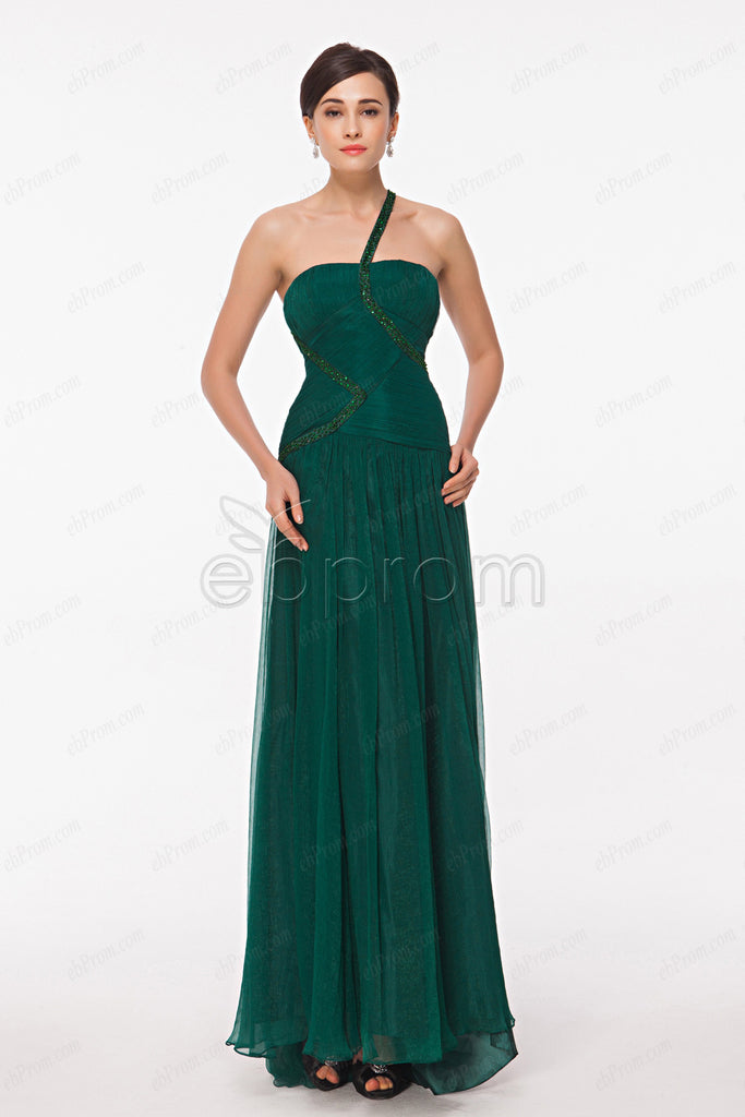 Trumpet Forest Green Beaded Evening Dresses Prom Dress Ebprom