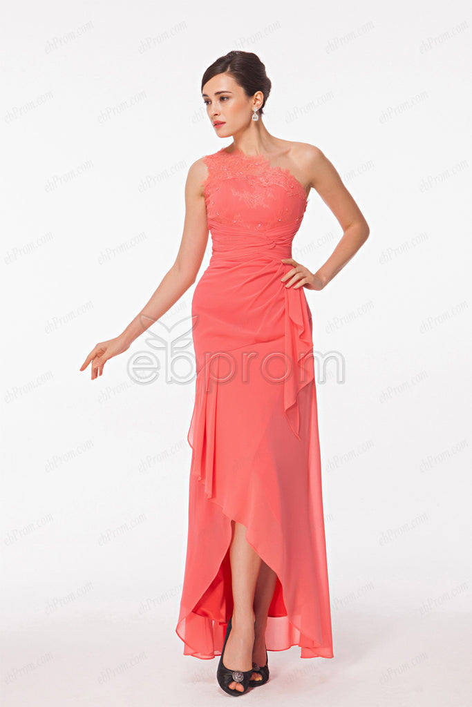 One shoulder High low bridesmaid dresses coral