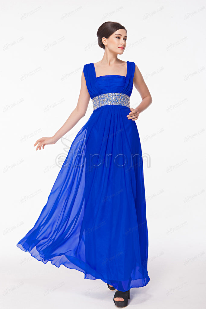 Royal blue square neck mother of the bride dresses plus size
