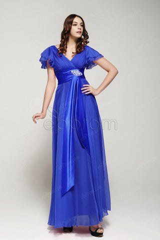 Royal blue modest mother of the bride dress with sleeves