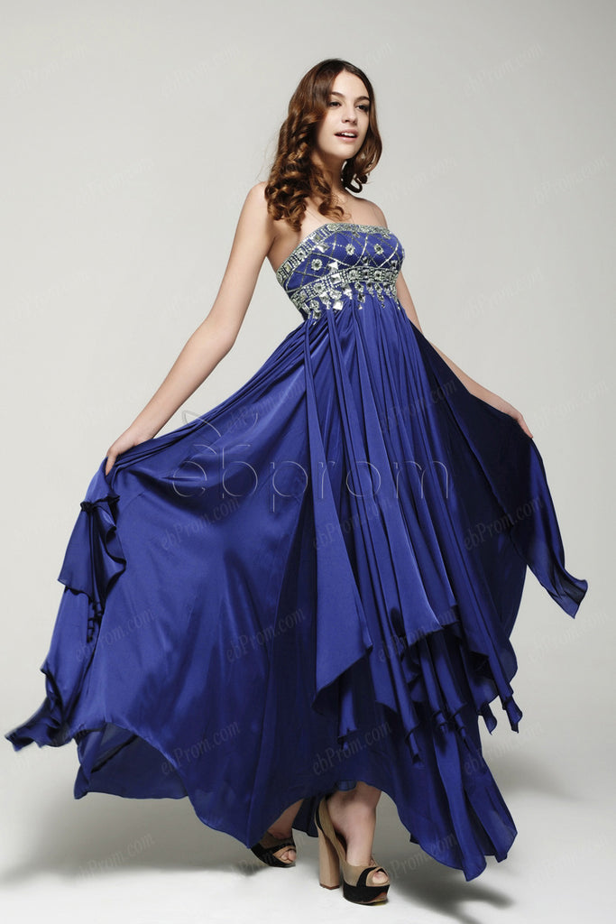 Royal blue beaded crystals pageant dresses prom dress