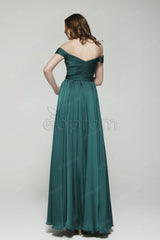 Dark green off the shoulder prom dresses