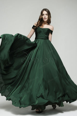 Dark green off the shoulder mother of the bride dresses