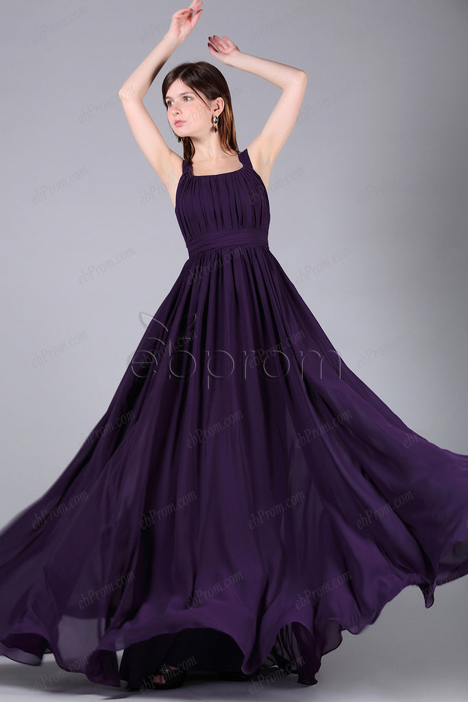 purple bridesmaid dresses with straps