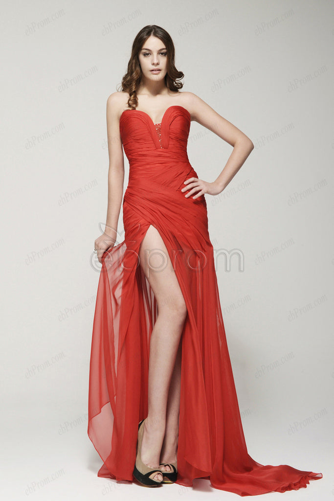Sweetheart red flowing prom dresses with slit