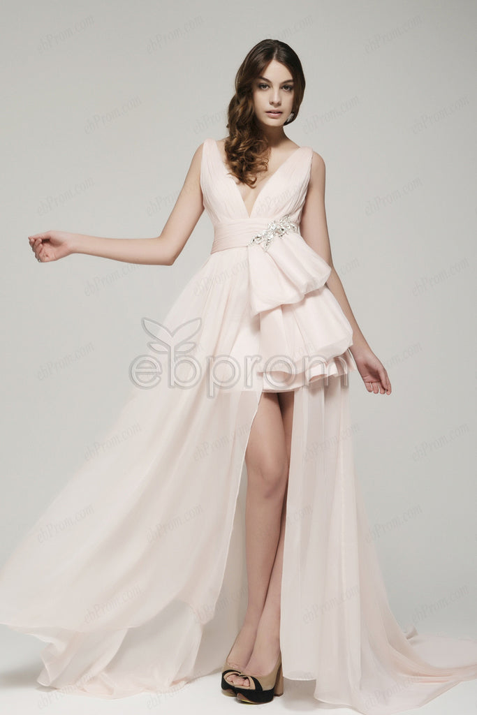 Soft Pink Prom Dresses With Slit Ebprom