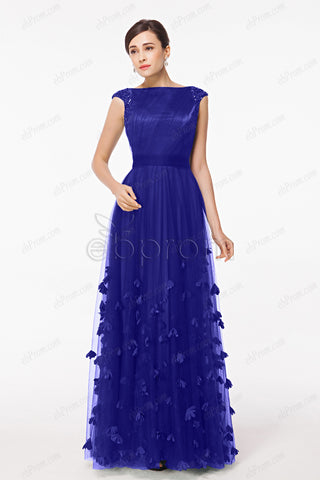 Royal blue modest mother of the bride dresses