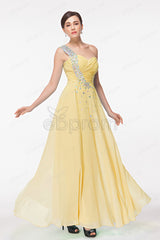 One Shoulder Soft yellow evening dresses with sparkles crystals