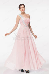 Pink crystals sparkly prom dresses long