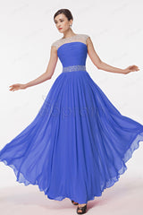 Royal blue sparkly beaded prom dresses