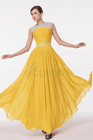 Modest yellow formal dresses cap sleeves bridesmaid dress