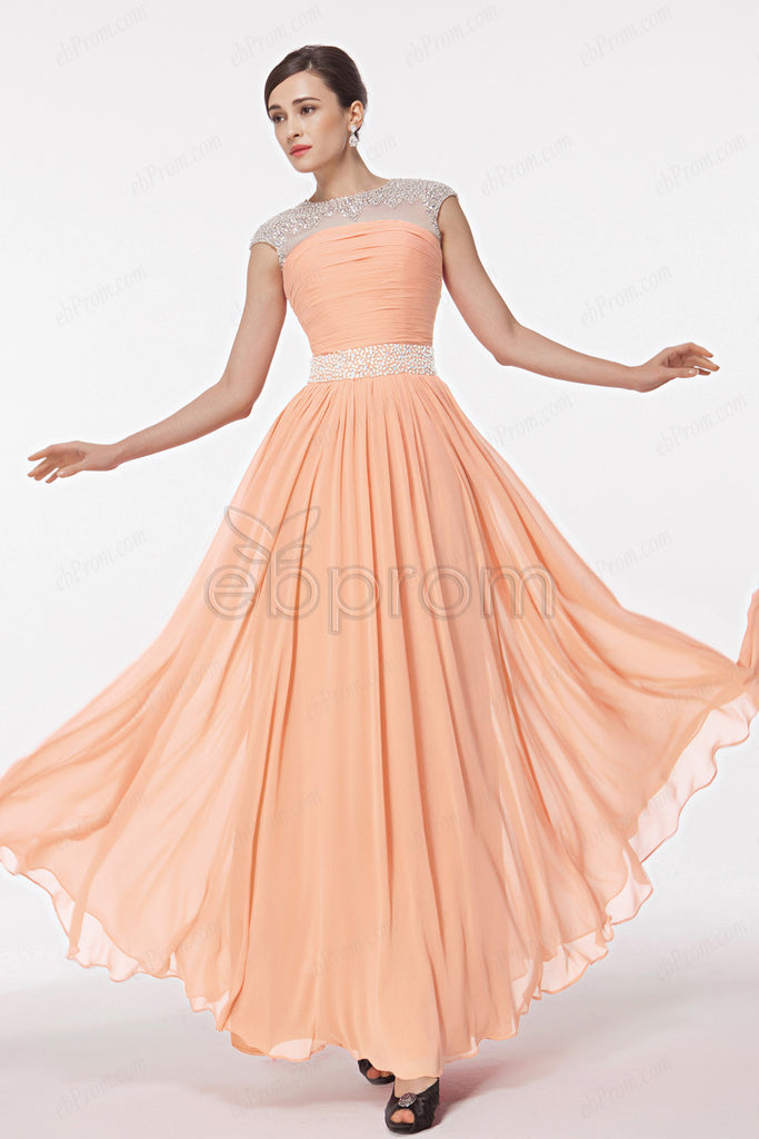 crystals beaded peach maid of honor dresses bridesmaid dresses