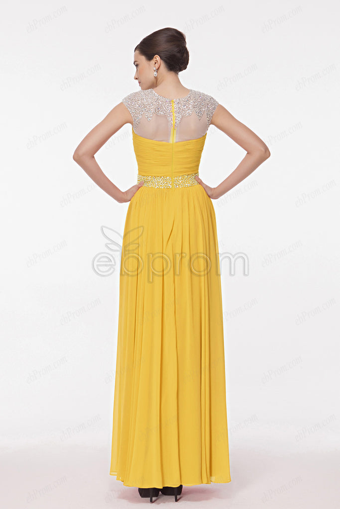 Modest yellow formal dresses cap sleeves bridesmaid dress – ebProm dd4492b72