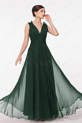 Dark green evening dresses V Neck