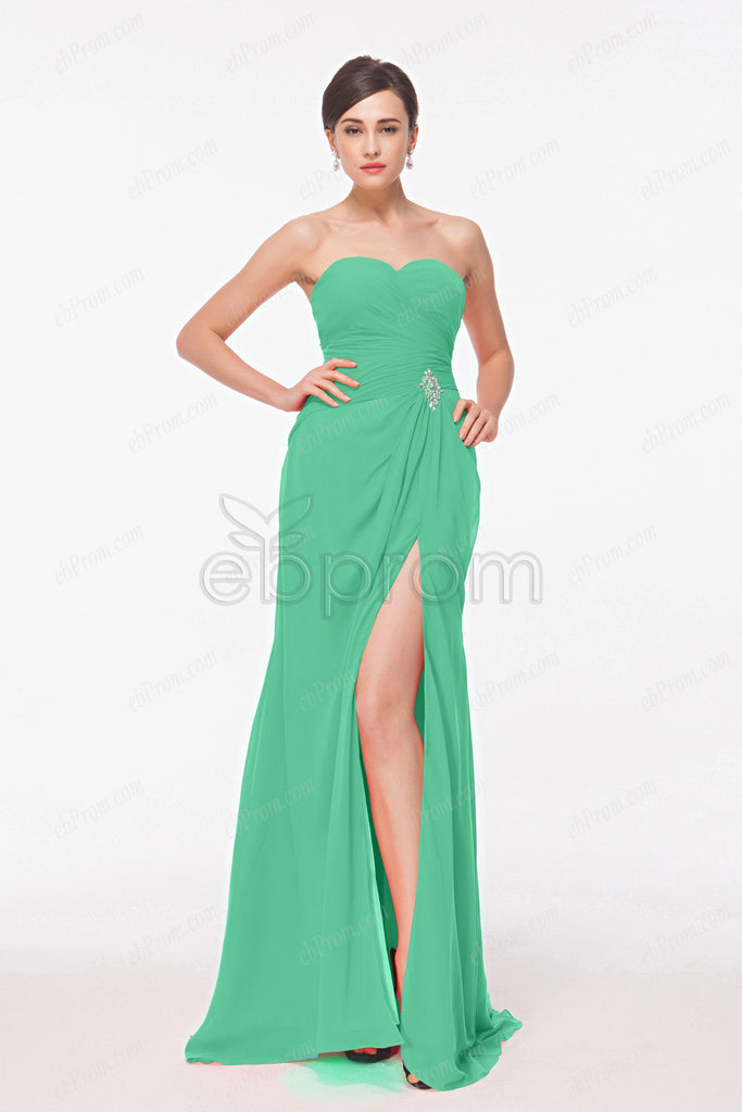 Sweetheart green bridesmaid dresses with Slit