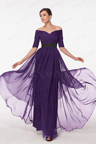 Dark purple mother of the bride dresses with sleeves plus size