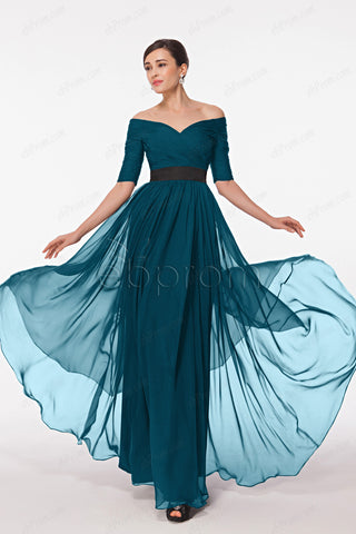 Teal off the shoulder evening dress with sleeves